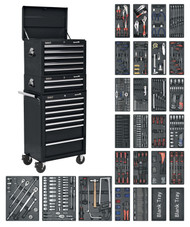 Sealey SPTCOMBO2 Tool Chest Combination 14 Drawer with Ball Bearing Runners - Black & 1179pc Tool Kit