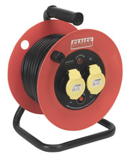 Sealey CR12515 Cable Reel 25mtr 2 x 110V 1.5mm_ Heavy-Duty Thermal Trip