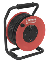 Sealey CR25025 Cable Reel 50mtr 4 x 230V 2.5mm_ Heavy-Duty Thermal Trip