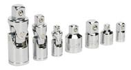 "Sealey AK2737 Universal Joint & Socket Adaptor Set 7pc 1/4"", 3/8"" & 1/2""Sq Drive"