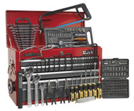 Sealey AP22509BBCOMB Topchest 9 Drawer with Ball Bearing Runners - Red/Grey & 205pc Tool Kit