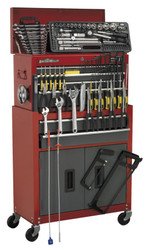 Sealey AP2200BBCOMBO Topchest & Rollcab Combination 6 Drawer with Ball Bearing Runners - Red/Grey & 128pc Tool Kit