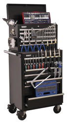 Sealey APCOMBOBBTK58 Topchest & Rollcab Combination 15 Drawer with Ball Bearing Runners - Black & 147pc Tool Kit