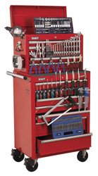 Sealey APCOMBOBBTK57 Topchest & Rollcab Combination 15 Drawer with Ball Bearing Runners - Red & 147pc Tool Kit