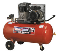 Sealey SAC1103B Compressor 100ltr Belt Drive 3hp with Cast Cylinders & Wheels