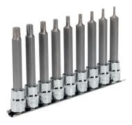 """Sealey AK6223 TRX-P Socket Bit Set 9pc 3/8""""Sq Drive 100mm"""