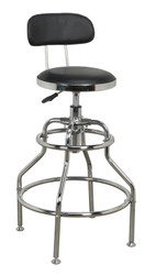 Sealey SCR14 Workshop Stool Pneumatic with Adjustable Height Swivel Seat & Back Rest