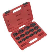 """Sealey AK5983 Crow's Foot Spanner Set 15pc 3/8""""Sq Drive Metric"""