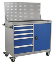 Sealey API1103A Industrial Mobile Workstation 5 Drawer & 1 Shelf Locker