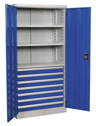 Sealey APICCOMBO7 Industrial Cabinet 7 Drawer 3 Shelf 1800mm