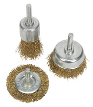 Sealey BWBS03 Wire Brush Set 3pc Brassed