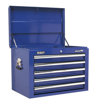 Sealey AP26059TC Topchest 5 Drawer with Ball Bearing Runners - Blue