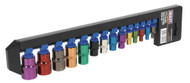 "Sealey AK61800 TRX-Star Socket Set 14pc 1/4"", 3/8"" & 1/2""Sq Drive E4-E24 Multi-Coloured"