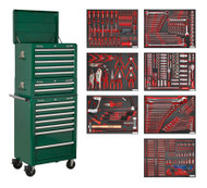 Sealey TBTPCOMBO3 Tool Chest Combination 14 Drawer with Ball Bearing Runners - Green & 446pc Tool Kit