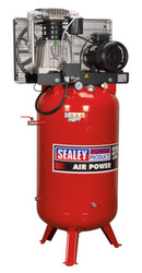 Sealey SACV52775B Compressor 270ltr Vertical Belt Drive 7.5hp 3ph 2-Stage with Cast Cylinders