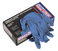 Sealey SSP55XL Premium Powder Free Disposable Nitrile Gloves Extra- Large Pack of 100