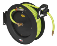 Sealey SA841HV Retractable Air Hose Metal Reel 15mtr ¯10mm ID High Visibility TPR Hose