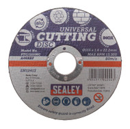 Sealey PTC/115MC Multipurpose Cutting Disc ¯115 x 1.6mm 22.2mm Bore