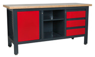 Sealey AP1905B Workstation with 3 Drawers, 1 Cupboard & Open Storage