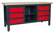 Sealey AP1905D Workstation with 6 Drawers & Open Storage