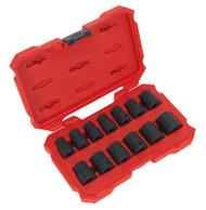 """Sealey AK5616M Impact Socket Set 13pc 1/2""""Sq Drive Lock-Onª 6pt Metric"""