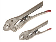C H Hanson CHH80200 - Automatic Locking Pliers Curved Jaw Set of 2 150mm & 250mm