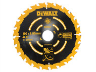 DEWALT DEWDT10304QZ - Circular Saw Blade 190 x 30mm x 24T Corded Extreme Framing
