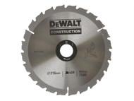 DEWALT DEWDT1154QZ - Circular Saw Blade 216 x 30mm x 24T Series 30 Construction Fast Rip