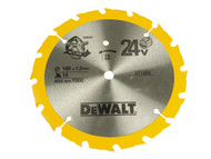 DEWALT DEWDT1207QZ - Trim Saw Blade 165 x 20mm x 24T Smooth Wood Cut
