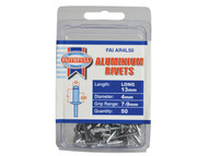 Faithfull FAIAR4L50 - Aluminium Rivets 4mm x 13mm Long Pre-Pack of 50