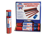 Faithfull FAICPDISP - Carpenters Pencils Red (12 x Tubes of 12 + Sharpener)