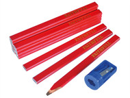 Faithfull FAICPR12S - Carpenters Pencils Tube (Tube of 12 + Sharpener)