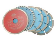 Faithfull FAIDBSET5CD - Diamond Blade Assorted Set of 5 115mm x 22.2mm