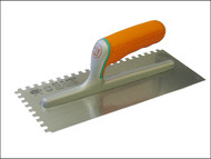 Faithfull FAISGSE - Adhesive Trowel Serrated Edge 8mm Soft Grip Handle 11 x 4.3/4 in