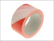 Faithfull FAITAPEHAZRW - Hazard Warning Safety Tape 50mm x 33m Red & White