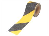 Faithfull FAITAPESTYB - Anti-Slip Tape Self Adhesive 50mm x 3m Black / Yellow