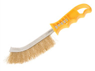 Faithfull FAIWBHANDB - Wire Scratch Brush Brass Yellow Handle
