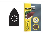 Flexovit FLV26404 - Detail Hook & Loop Sanding Sheets 105 x 175mm Medium 80g (6)