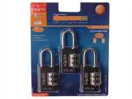 Henry Squire HSQCTL30TR - Toughlock Re-Codeable Black Combination Padlock 30mm (Pack of 3)