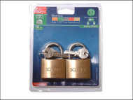 Henry Squire HSQLP10T - LP10T Leopard Brass Padlock 50mm (Card of 2)