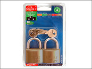 Henry Squire HSQLP9T - LP9T Leopard Brass Padlock 40mm Keyed (Card of 2)