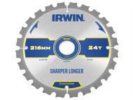 IRWIN IRW1897395 - Construction Circular Saw Blade 216 x 30mm x 24T ATB/Neg M