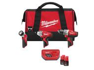 Milwaukee MILC12PP3B2 - C12 PP3B 202 Power Pack 3 Piece Kit 12 Volt 2 x 2.0Ah Li-Ion