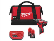 Milwaukee MILM12SET1D - M12 SET1D-152B Sub Compact Percussion Drill Kit 12 Volt 2 x 1.5Ah