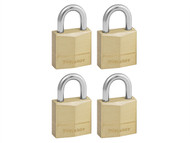 Master Lock MLK120Q - Solid Brass 20mm Padlock 3-Pin - Keyed Alike x 4