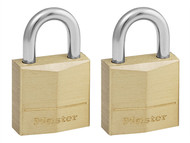Master Lock MLK120T - Solid Brass 20mm Padlock 3-Pin - Keyed Alike x 2