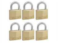 Master Lock MLK140SIX - Solid Brass 40mm Padlock 4-Pin - Keyed Alike x 6