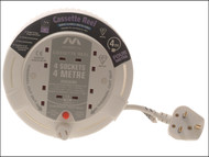 Masterplug MSTSCT04134W - Cassette Cable Reel 4 Metre 4 Socket Thermal Cut-Out White 13A 240 Volt