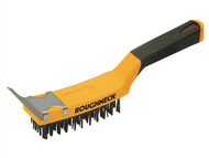 Roughneck ROU52042 - Carbon Steel Wire Brush Soft Grip with Scraper 300mm (12in)
