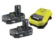 Ryobi RYBRBC18LL13 - RBC 18LL ONE+ 18V Batteries & Charger 18 Volt 2 x 1.3Ah Li-Ion